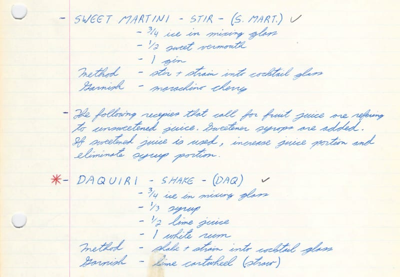 This scan from my original 1982 bartender training notebook shows the importance of having standard union recipes, for consistent quality and portion control across multiple venues. (© 2020 Michael W. Campbell)