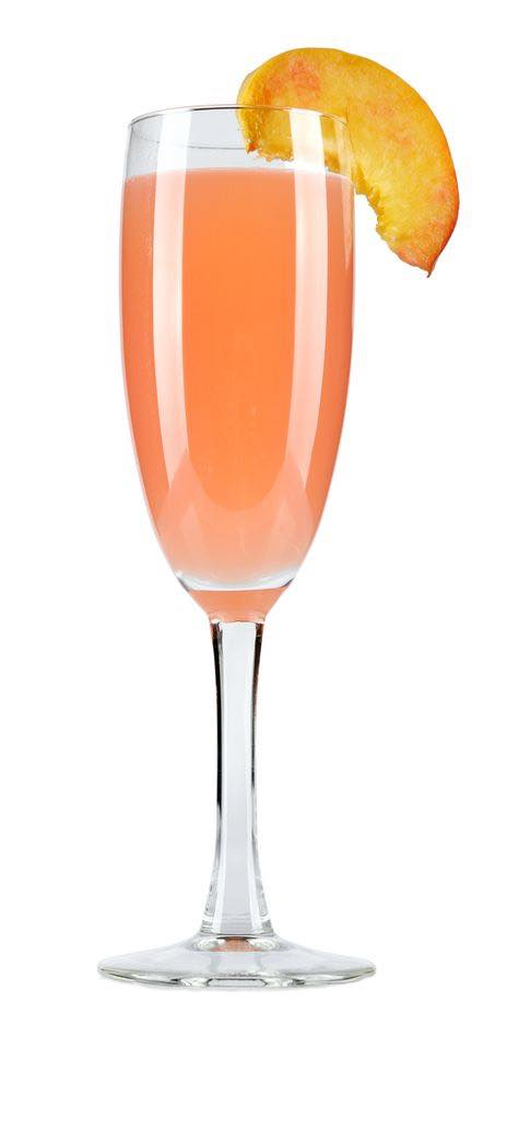 Photo shows a Bellini cocktail in a serving glass, mixed and ready to drink. (© tashka2000/123RF photo)