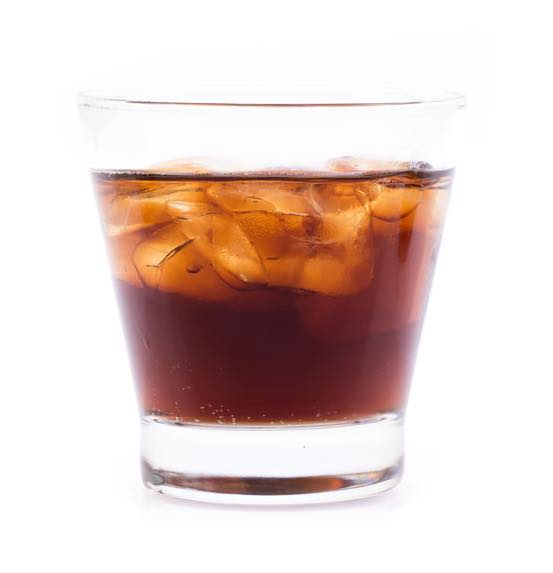 Photo shows a Black Russian cocktail in a serving glass, mixed and ready to drink. (© cloud7days/123RF photo)
