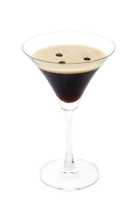 Photo shows a Espresso Martini cocktail in a serving glass, mixed and ready to drink. (© boule13/123RF photo)