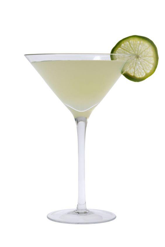 hoto shows a Gimlet cocktail in a serving glass, mixed and ready to drink. (© gpalmer1477/123RF photo)