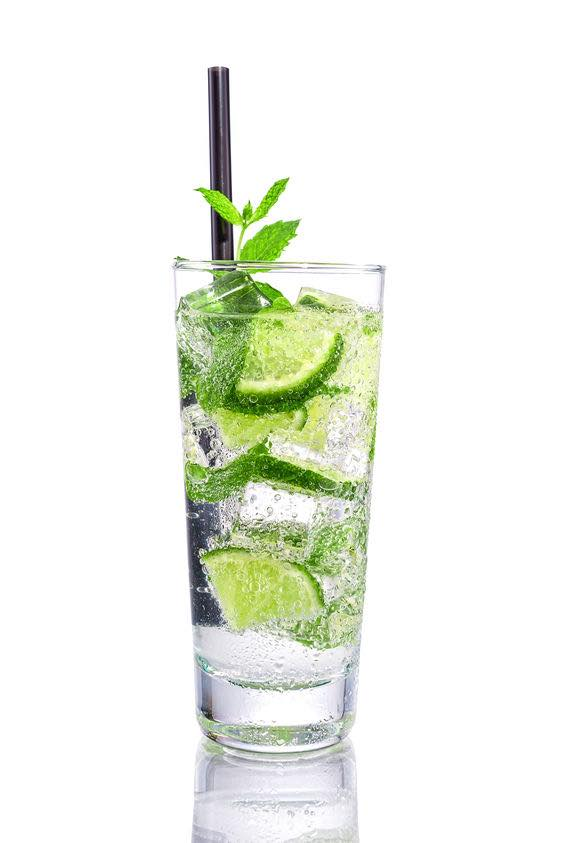 Photo shows a Mojito cocktail in a serving glass, mixed and ready to drink. (© geribody/123RF photo)