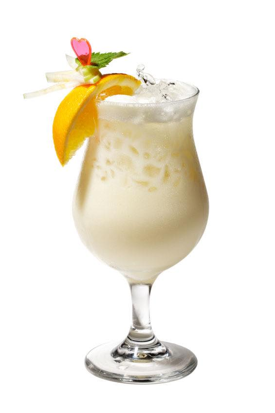 Photo shows a Pina Colada cocktail in a serving glass, mixed and ready to drink. (© ryzhkov86/123RF photo)