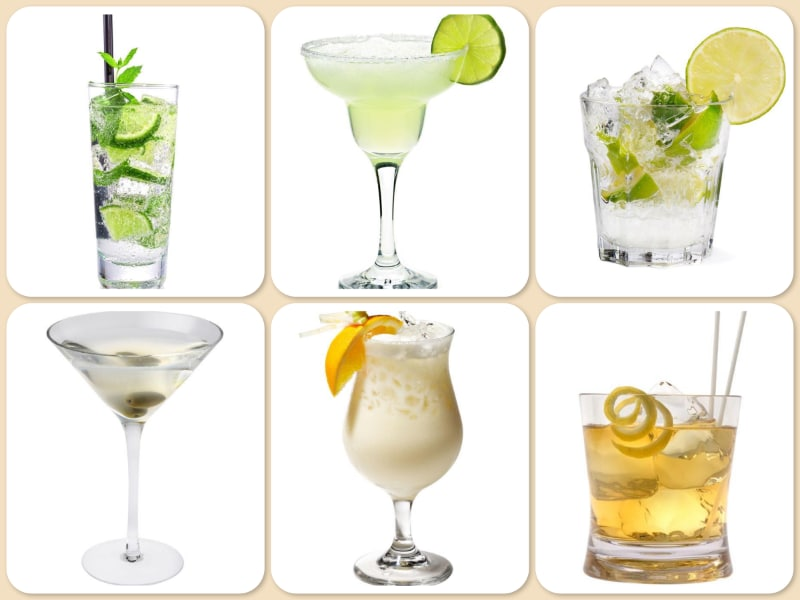 This photo shows the surprising results to the Top 50 Most Popular Cocktails in the World research. (© collage/123RF photo)